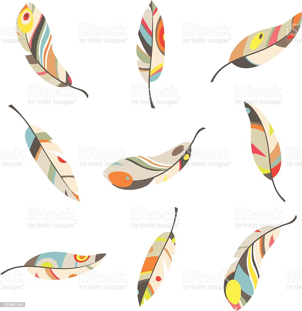 set of 9 colorful feathers on a white background vector art illustration