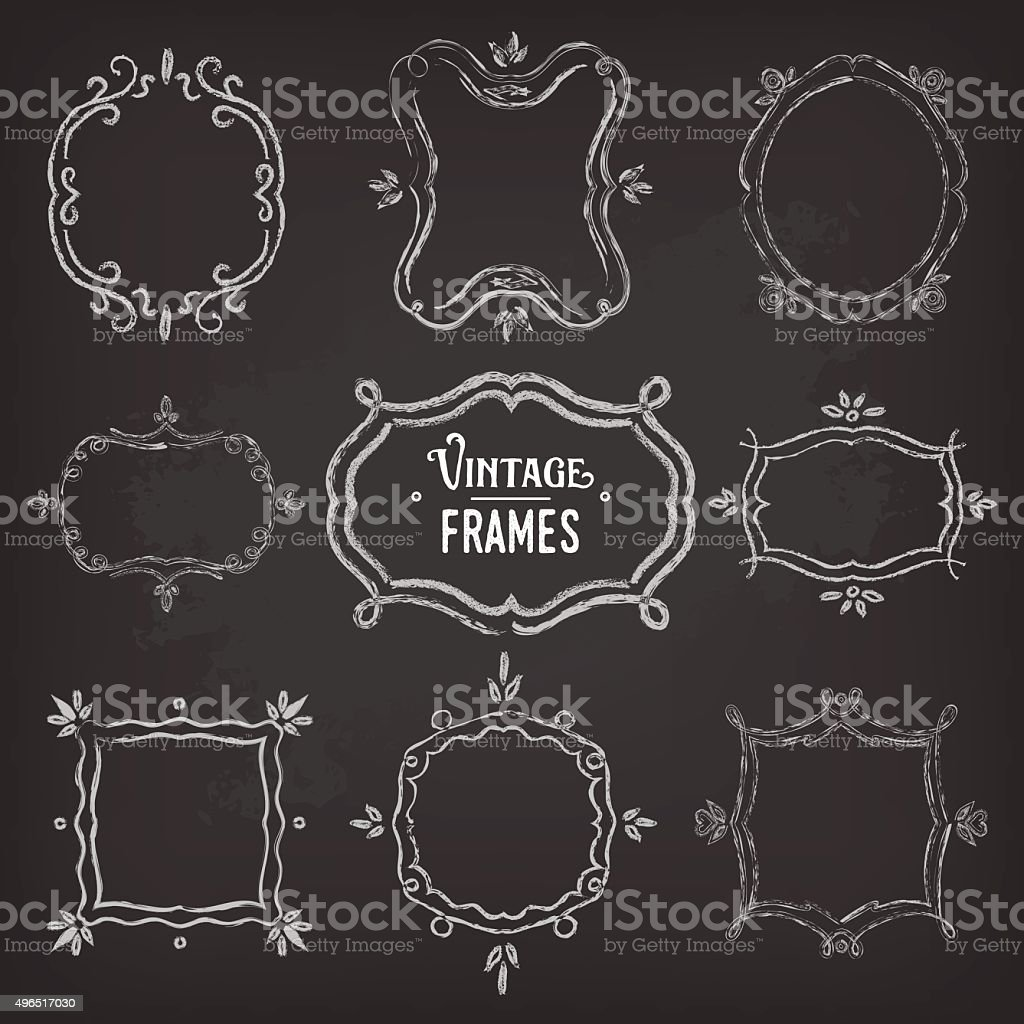 Set of 9 cute vintage chalk frames of different orientations vector art illustration