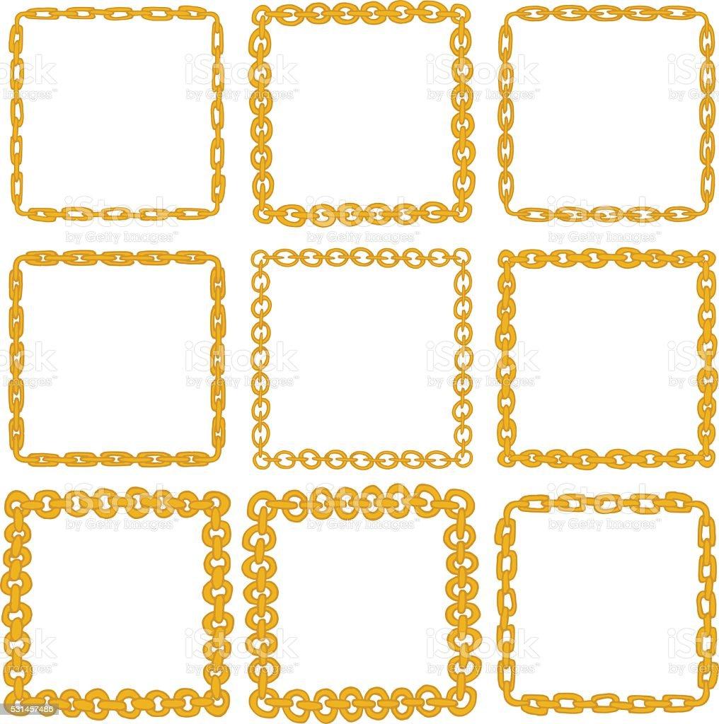 set of 9 decorative square gold border frames stock vector