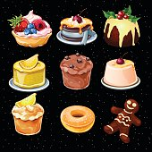 Set of 9 desserts icons on a black background
