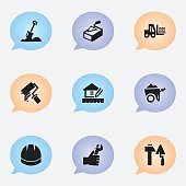 Set Of 9 Editable Building Icons.