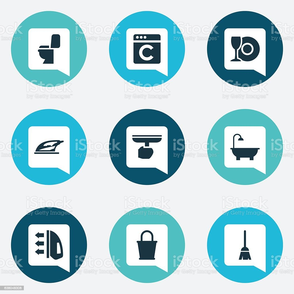 Set Of 9 Editable Cleanup Icons. vector art illustration