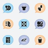 Set Of 9 Editable Cleanup Icons.