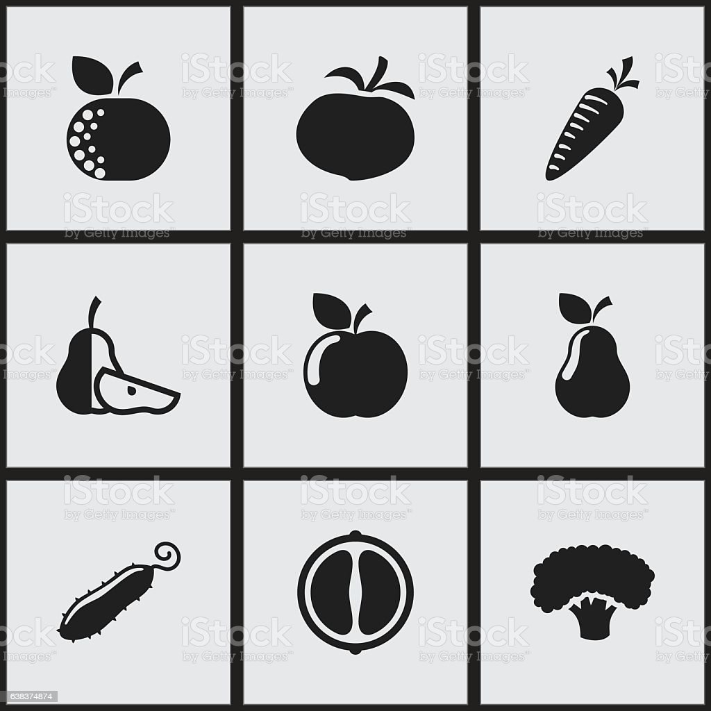 Set Of 9 Editable Cooking Icons. vector art illustration