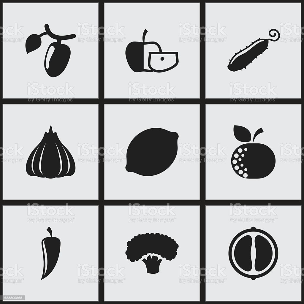 Set Of 9 Editable Cookware Icons. vector art illustration