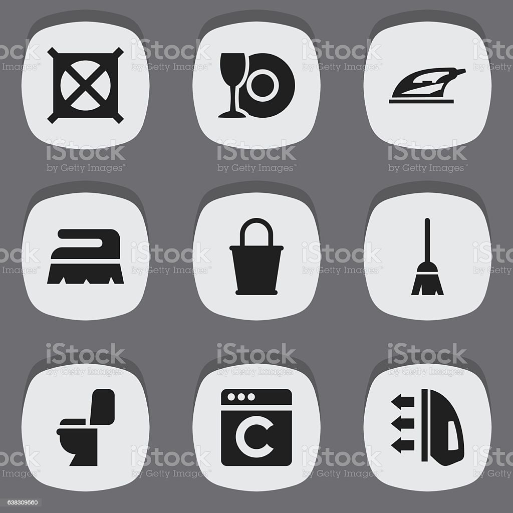 Set Of 9 Editable Dry-Cleaning Icons. vector art illustration