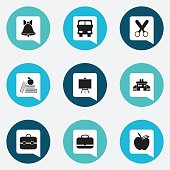 Set Of 9 Editable Education Icons.