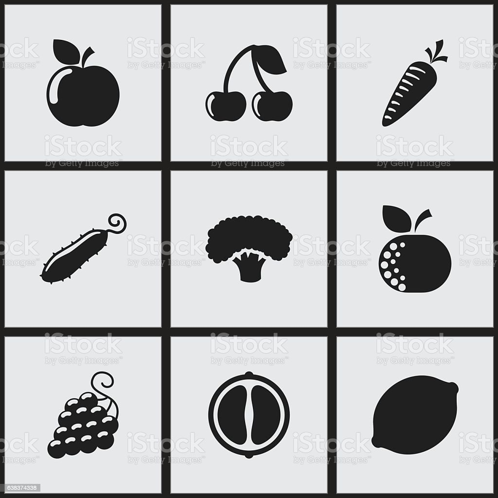 Set Of 9 Editable Food And Vegetable Icons. vector art illustration