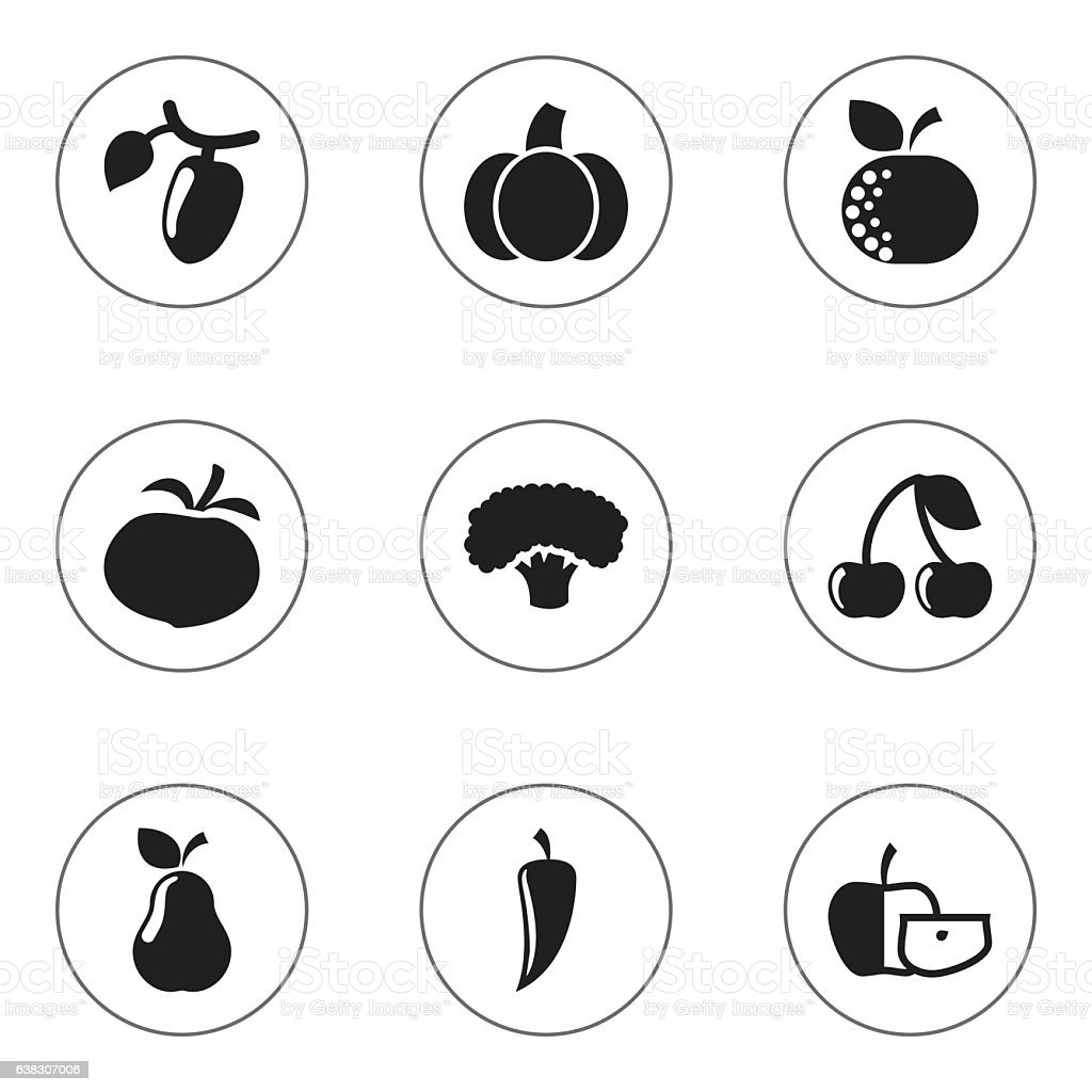Set Of 9 Editable Kitchenware Icons. vector art illustration