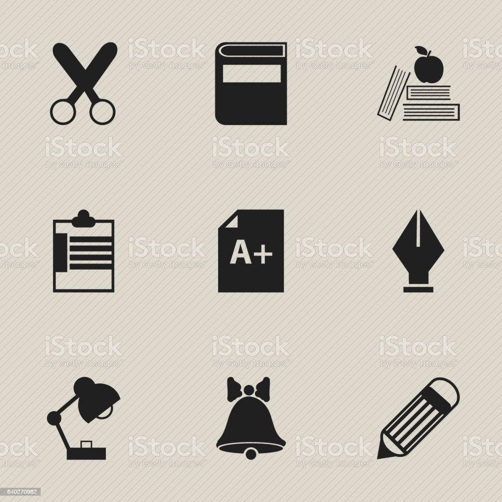 Set Of 9 Editable Knowledge Icons. vector art illustration