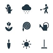 Set Of 9 Editable Plant Icons. Includes