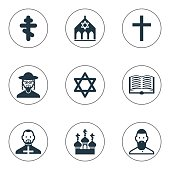 Set Of 9 Editable Religion Icons.