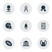 Set Of 9 Editable School Icons.
