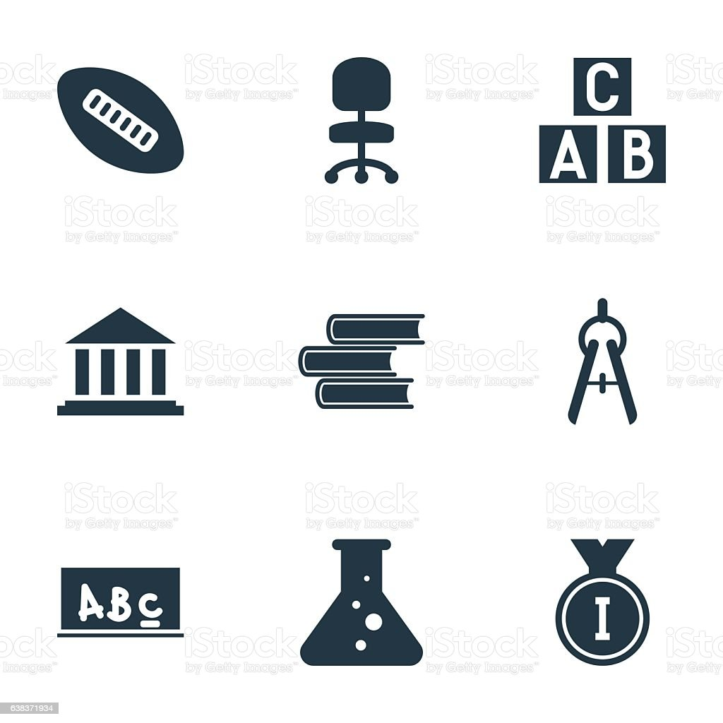 Set Of 9 Editable Science Icons. vector art illustration