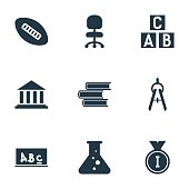 Set Of 9 Editable Science Icons.