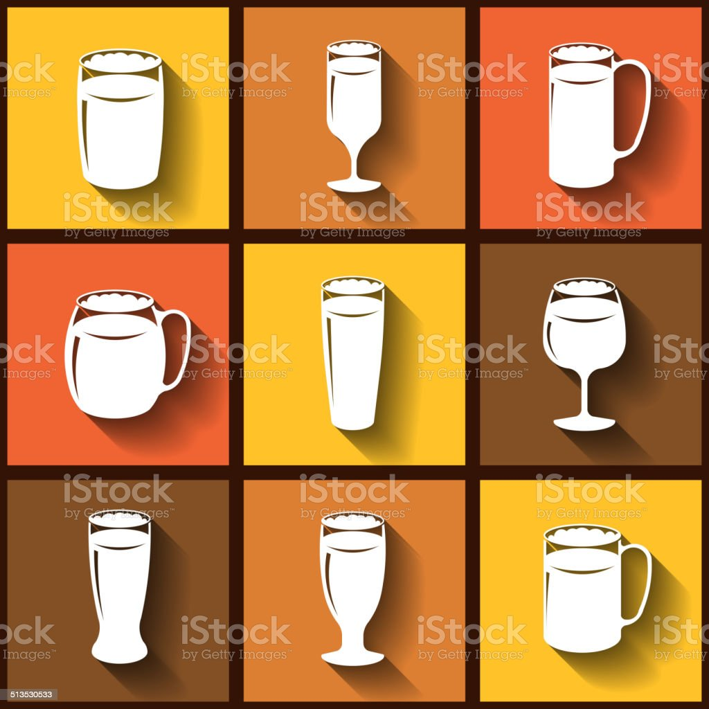 Set of 9 flat icons of different beer glasses vector art illustration