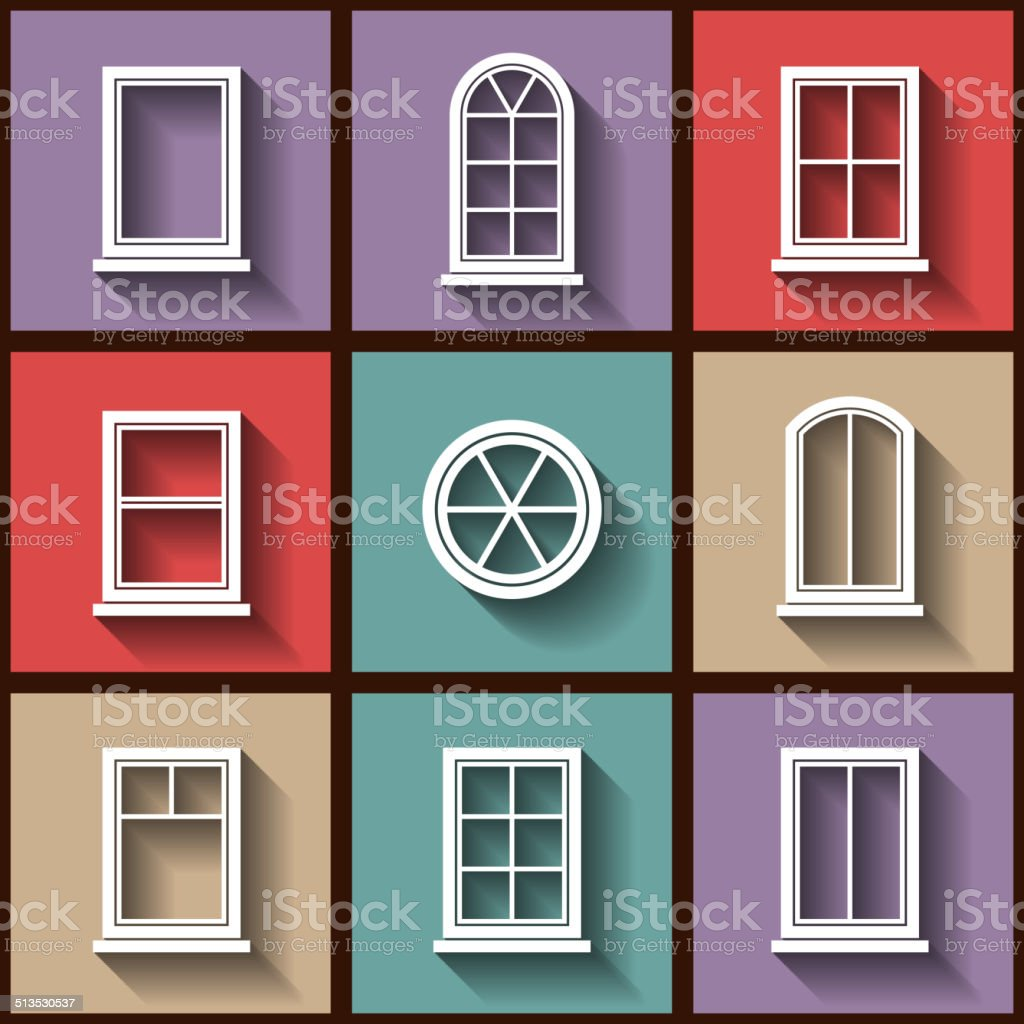 Set of 9 flat icons of different types of windows vector art illustration