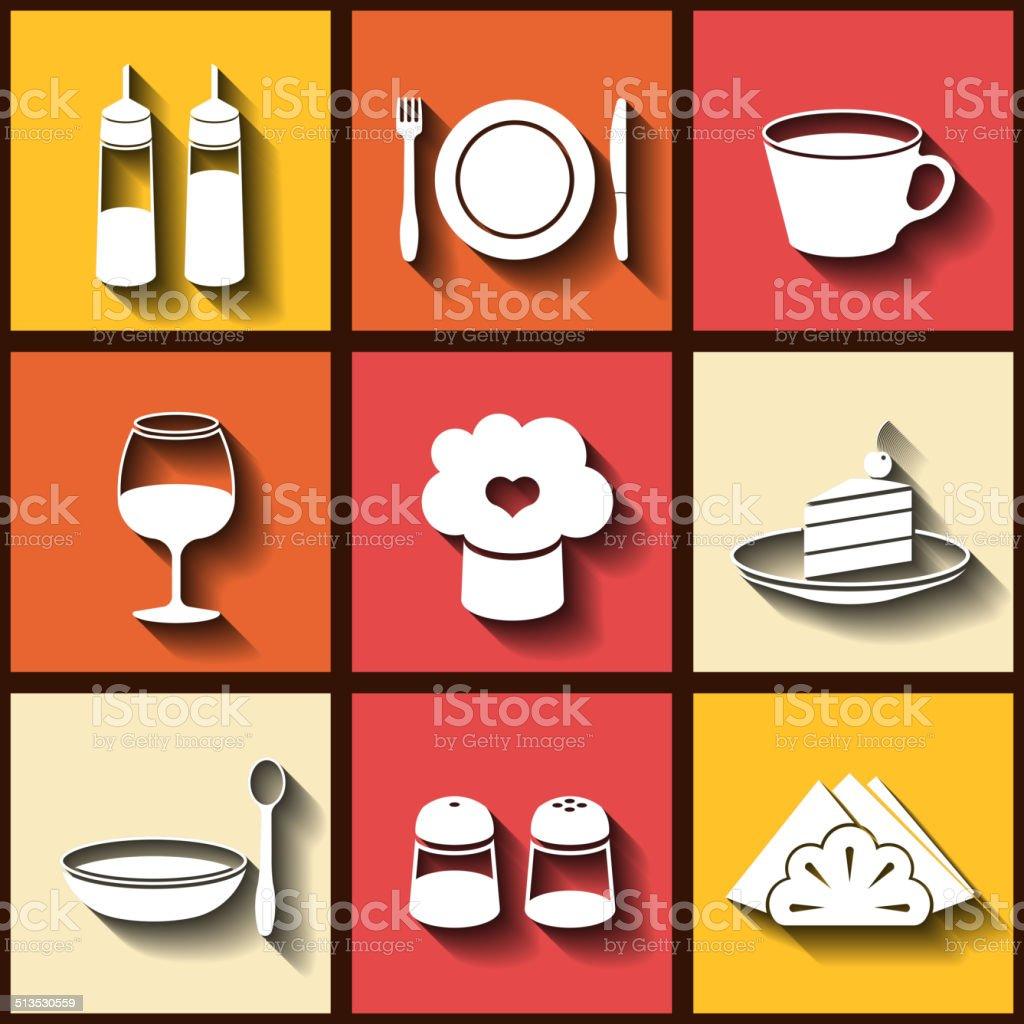 Set of 9 flat icons of kitchen utensils vector art illustration