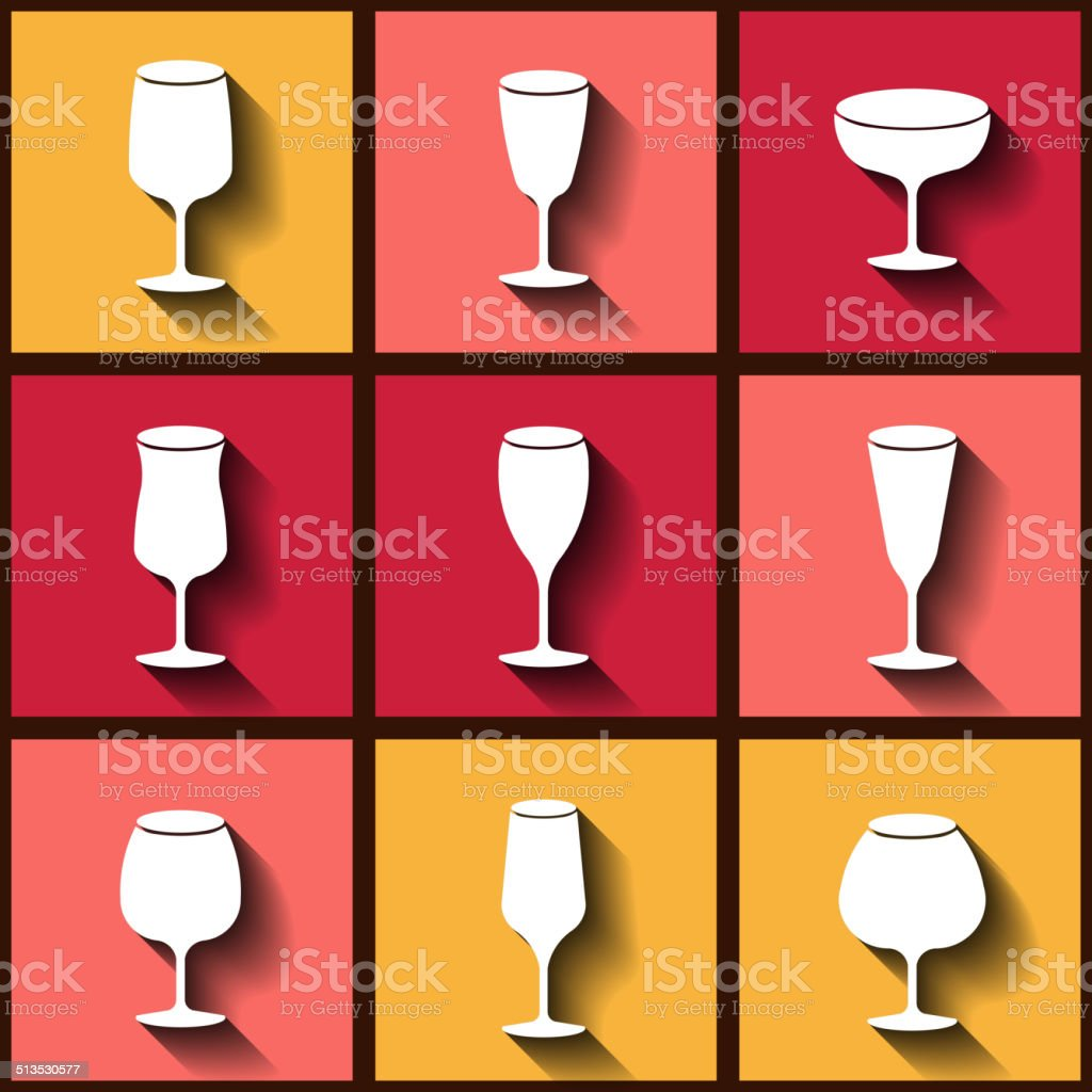 Set of 9 flat icons with different wine glasses vector art illustration