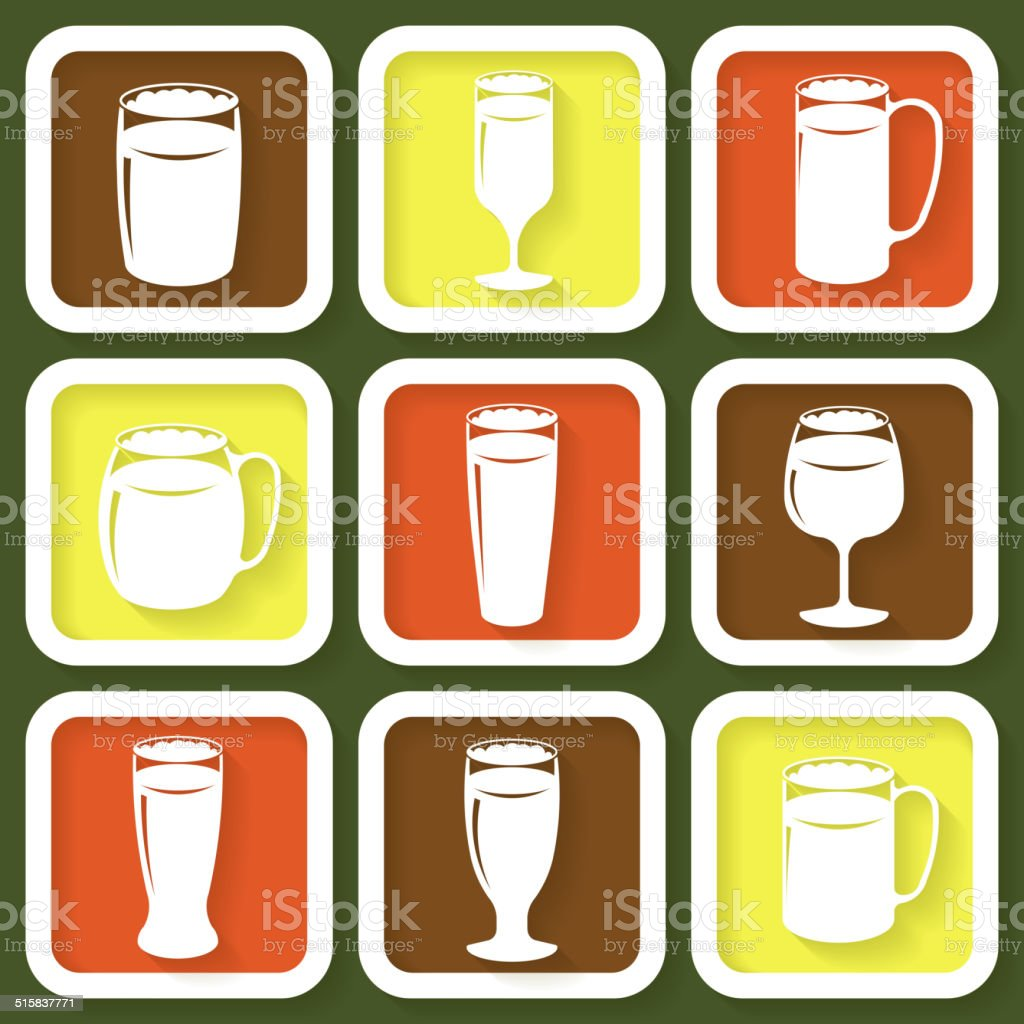 Set of 9 icons of different beer glasses vector art illustration
