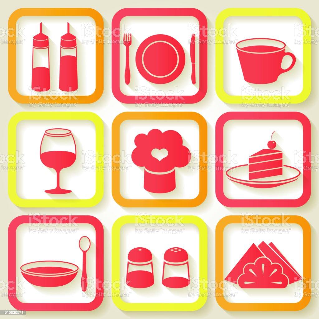 Set of 9 icons of kitchen utensils vector art illustration