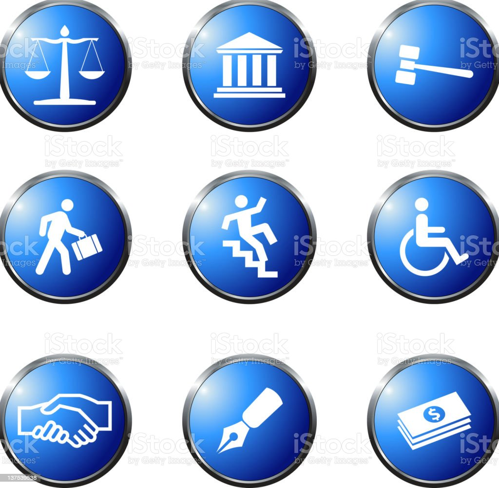 Set of 9 law Vector Icons on blue shiny buttons. royalty-free stock vector art