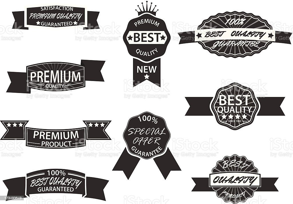 Set of 9 Retro Premium Quality Labels and Badges royalty-free stock vector art