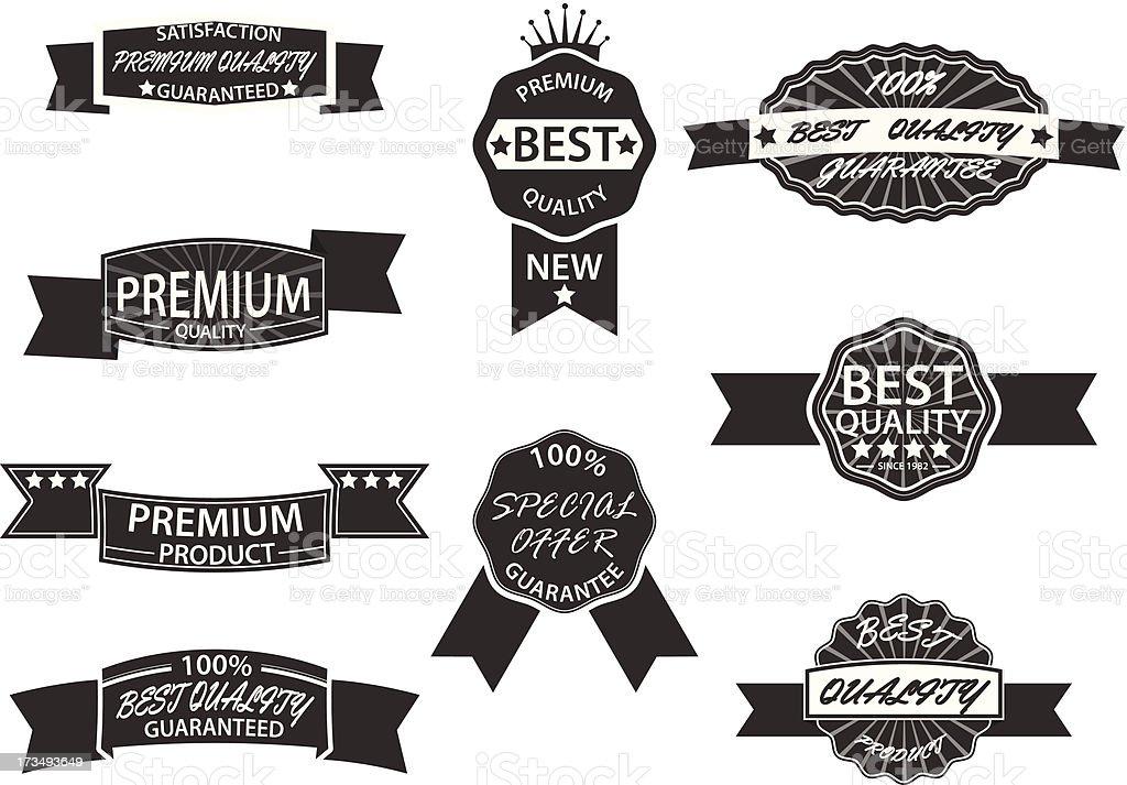 Set of 9 Retro Premium Quality Labels and Badges vector art illustration