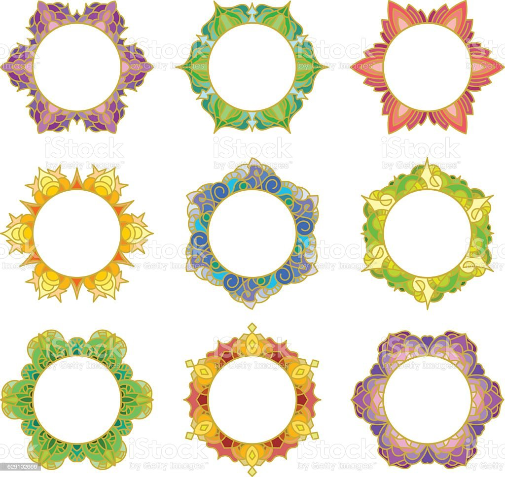 Set of 9 round frames vector art illustration