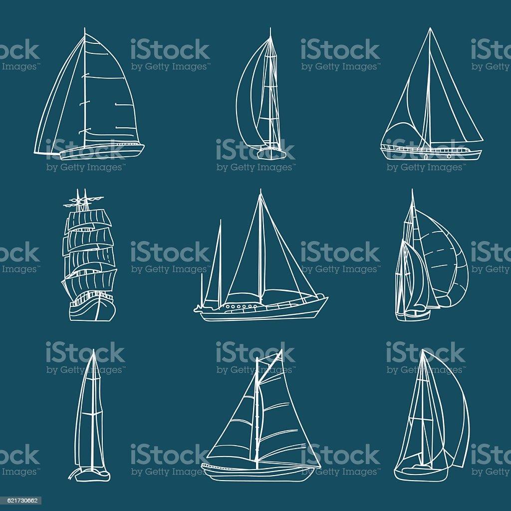 Set of 9 sailboats isolated on white. vector art illustration