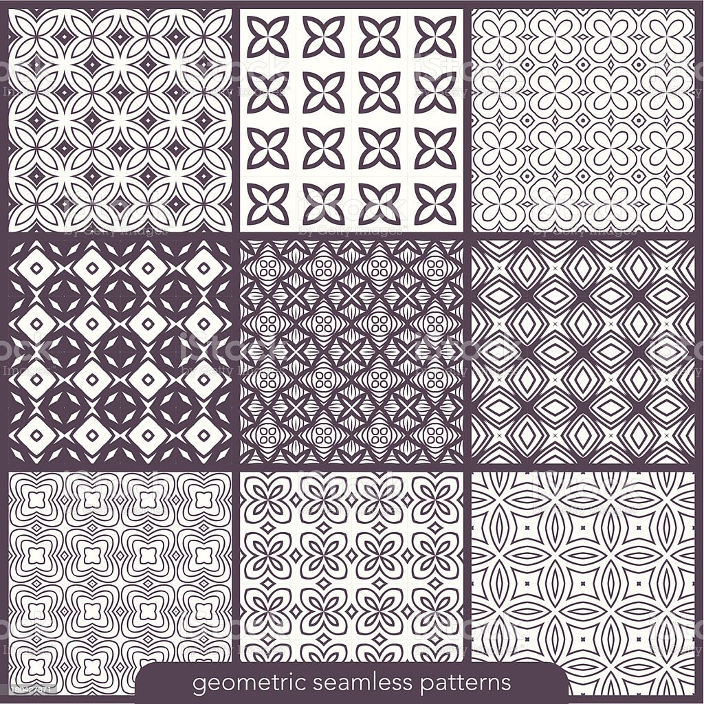 Set of 9 seamless geometric patterns. royalty-free stock vector art