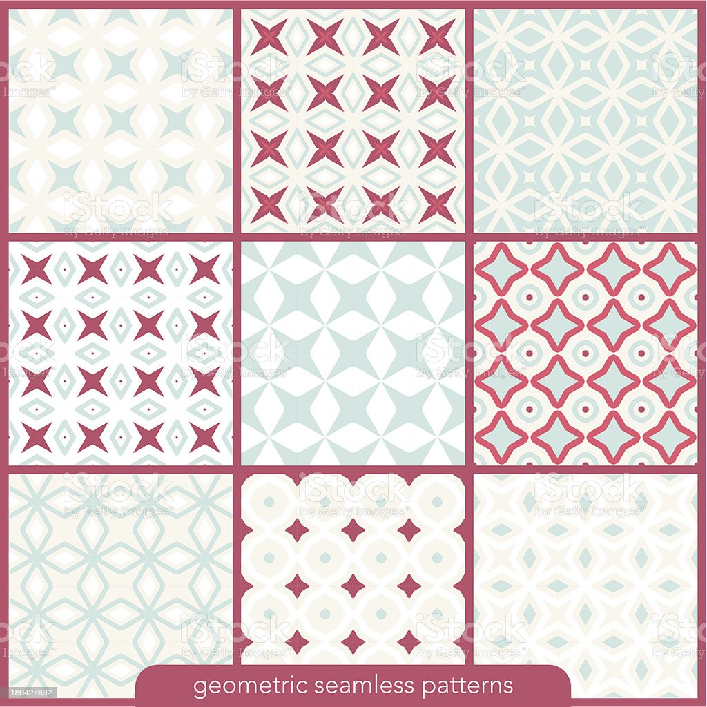 Set of 9 seamless geometric retro patterns. royalty-free stock vector art