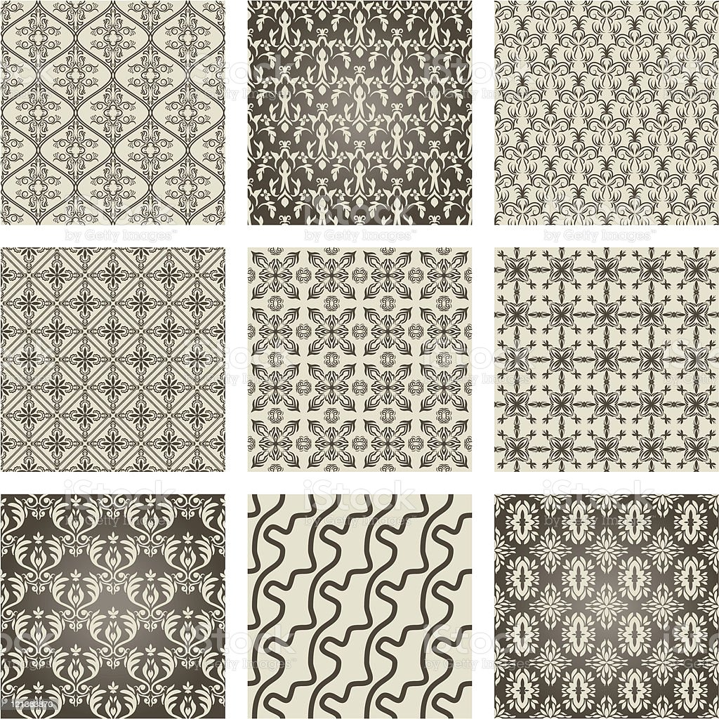 set of 9 seamless patterns royalty-free stock vector art