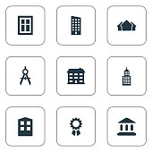 Set Of 9 Simple Architecture Icons.
