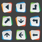 Set Of 9 Simple Arrows Icons.