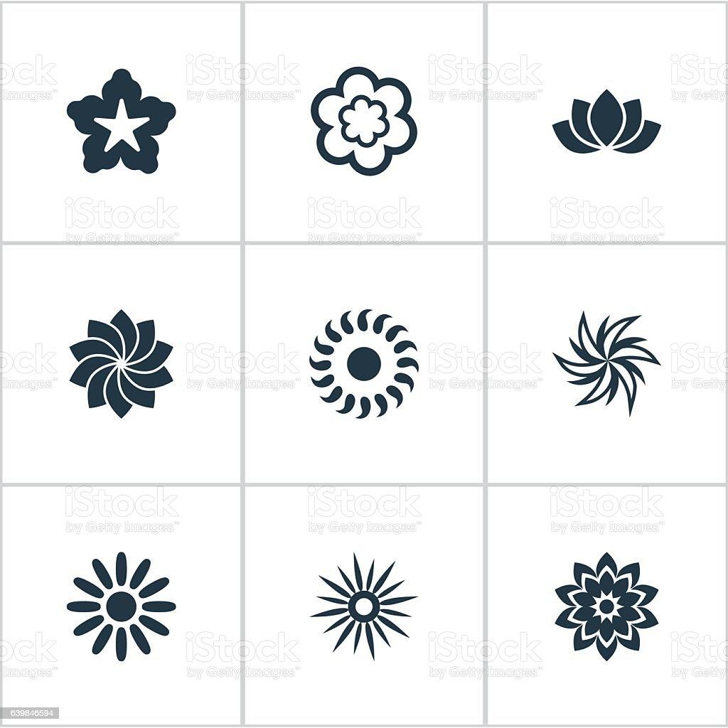 Set Of 9 Simple Blossom Icon vector art illustration