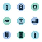 Set Of 9 Simple Construction Icons.