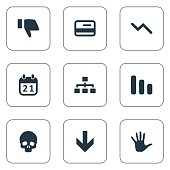 Set Of 9 Simple Crisis Icons.