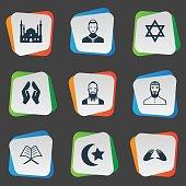 Set Of 9 Simple Faith Icons.