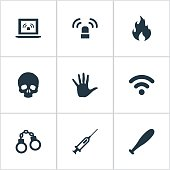 Set Of 9 Simple Fault Icons.