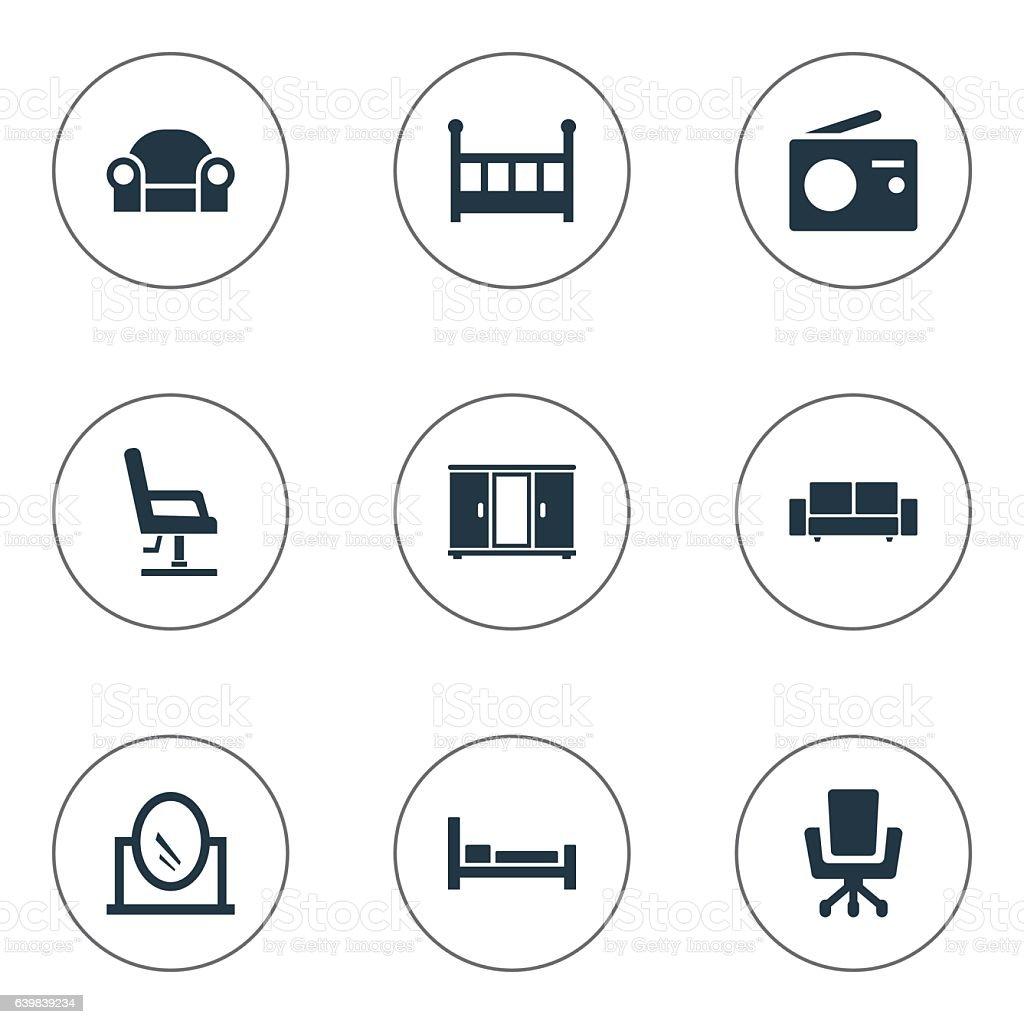 Set Of 9 Simple Furnishings Icons. vector art illustration