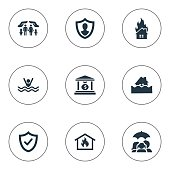 Set Of 9 Simple Insurance Icons.