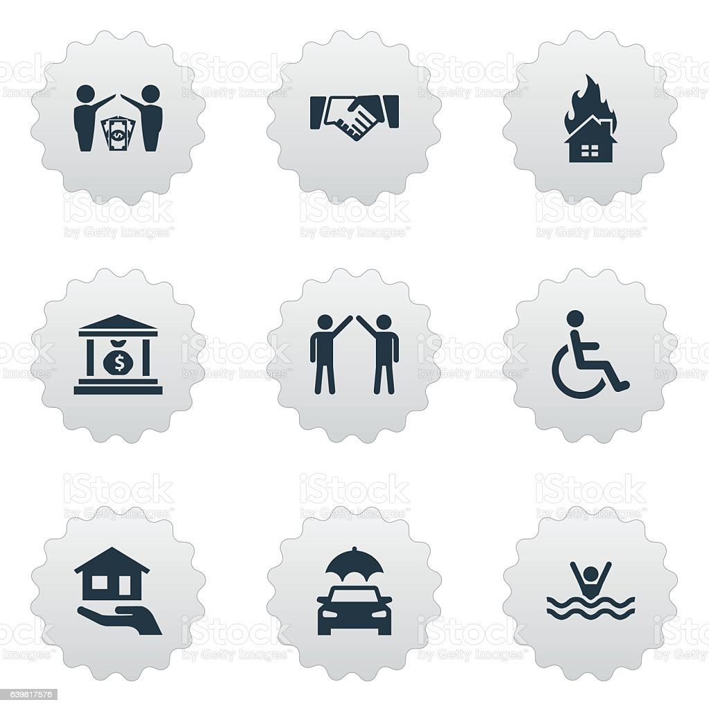 Set Of 9 Simple Insurance Icons. vector art illustration