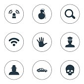 Set Of 9 Simple Offense Icons.