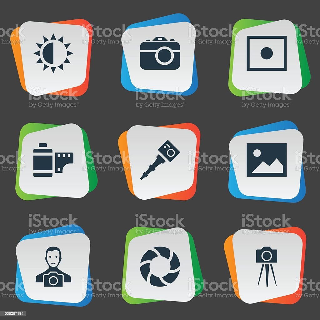 Set Of 9 Simple Photographer Icons. vector art illustration