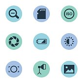 Set Of 9 Simple Photographic Icons.