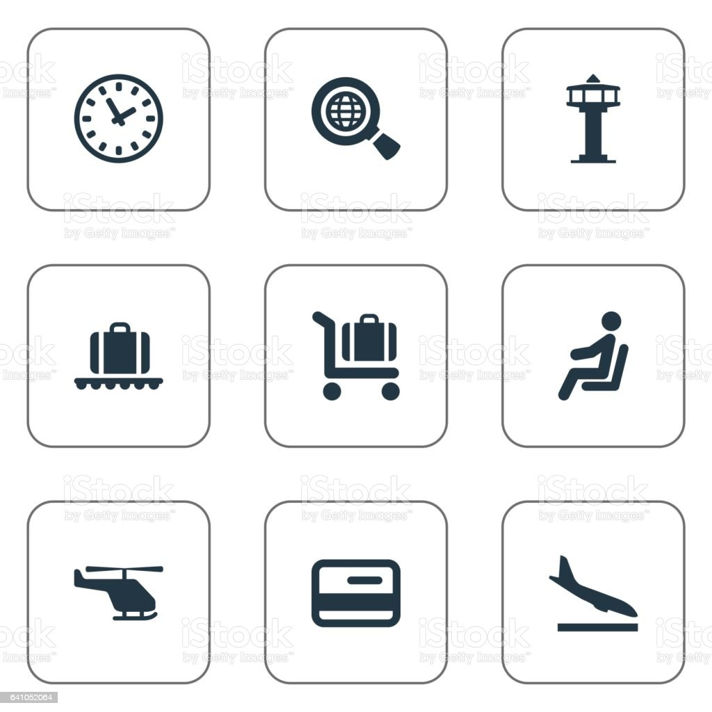 Set Of 9 Simple Plane Icons. vector art illustration