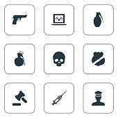 Set Of 9 Simple Police Icons.