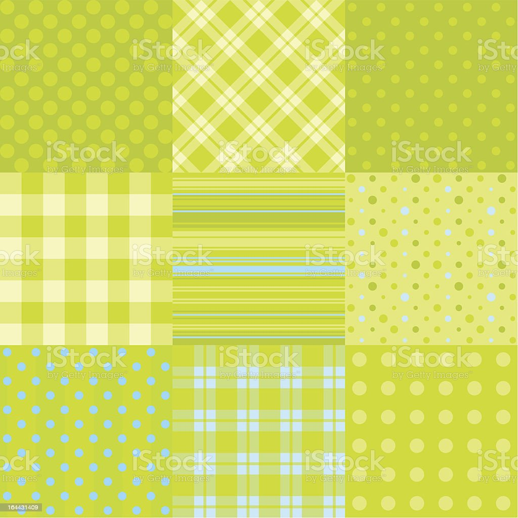 Set of 9 simple seamless textures royalty-free stock vector art
