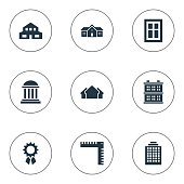 Set Of 9 Simple Structure Icons.